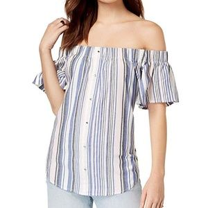 7 Sisters Top Juniors Striped Off Shoulder Blouse